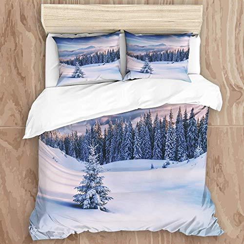 Knncch Juego de Funda nórdica, árboles snovy en montañas de Invierno con...