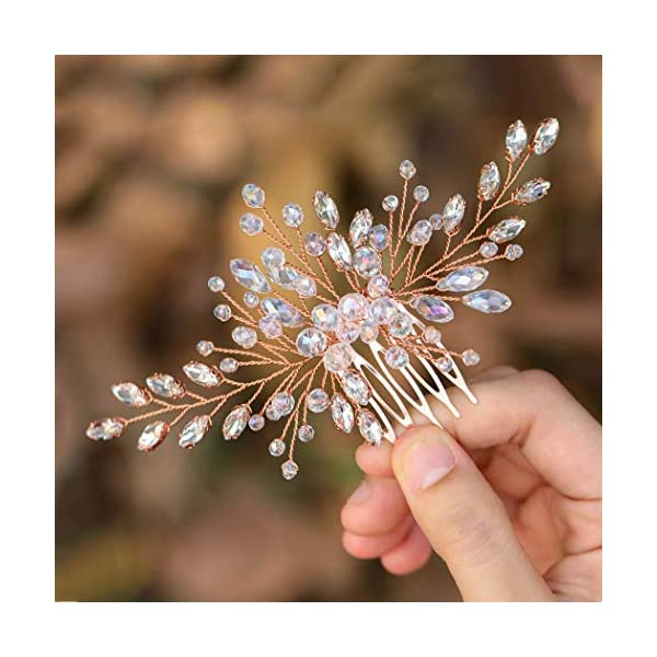 Casdre Crystal Bride Wedding Hair Comb Rose Gold Rhinestone Bridal Side Comb Wedding Hair Piece Hair Accessories for Women and Girls