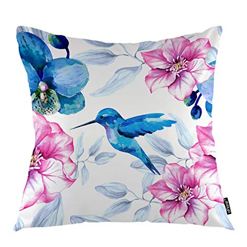 oFloral Flower Throw Pillow Cover Orchid Flowers Hummingbird Nature Rose Plant Decorative Square Pillow Case 18'X18' Pillowcase Home Decor for Sofa Bedroom