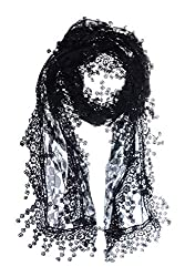All Black Leafy Lace Scarf With Tassels