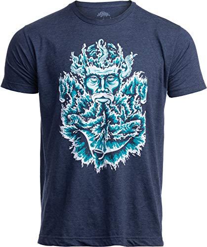 Poseidon | Greek God of Sea Ocean Spiritual Mythology Art Illustration for Men Women T-Shirt-(Navy,XL)
