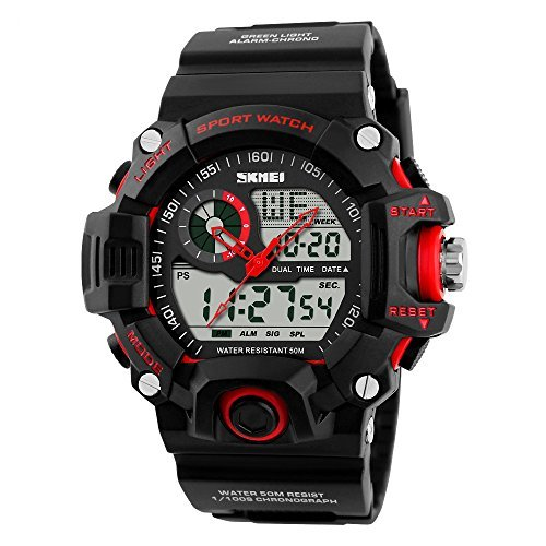 Men Sport Digital LED Watch Casual Military Multifunctional Wristwatch Water Resistant (RED)