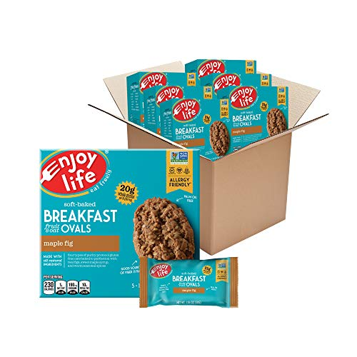Enjoy Life Foods Soft Baked Maple Fig Ovals Breakfast Bars, Nut Free Bars, Soy Free, Dairy Free, Non GMO, Gluten Free Vegan Breakfast Bars, 6 Boxes