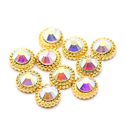 Five Season 10 pcsBling Decoration Cristal Accessoire Alliage Nail Art Manucure Forme Rond, 0.7*0.7cm, Or