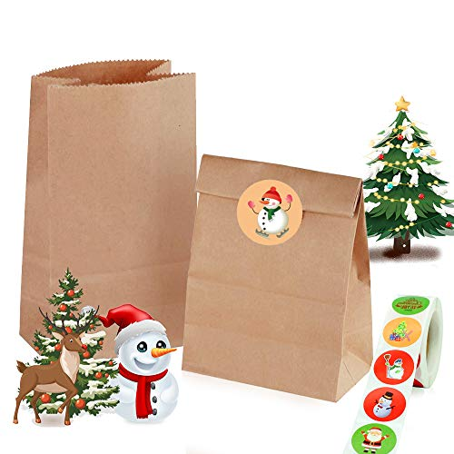 120 Stk Braune Papiertüten, 18 x 9 x 5 cm Papiertüten Geschenktüten, Süßigkeiten Tüten mit Eine Rolle Rindsleder Sticker für Geschenk-verpackung Brote Keks verpacken Ostertüten