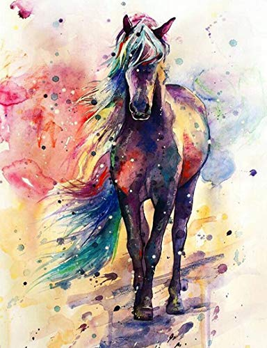 5D Full Drill Diamond Painting Kit, DIY Diamond Rhinestone Painting Kits for Adults and Children Embroidery Arts Craft Home Decor 19.6 x 16 inch (Colorful Horse Diamond Painting Kit)