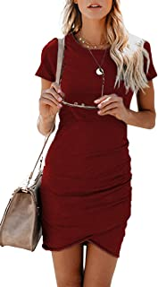 BTFBM Women s 2019 Casual Crew Neck Ruched Stretchy Bodycon T Shirt Short  Mini Dress ad35af975668