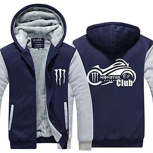 Chaqueta con capucha para hombre Suéter - Monster Energy Print Winter Attach Zip Cálido manga larga con capucha con capucha-I||5XL