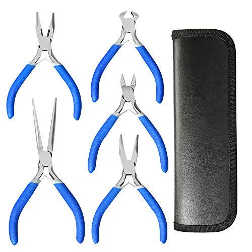 Lifegoo - Juego de alicates de precisión (5 unidades, alicates de punta larga, alicates diagonales, alicates de corte final, alicates Linesman, bolsa de nailon con guantes)