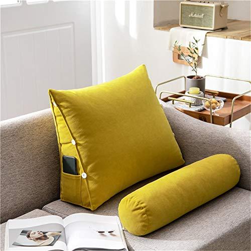 Nicole Knupfer Cojín de respaldo para leer, cojín cervical, cojín ortopédico para sofá, cama, respaldo, cojín de apoyo en forma de cuña, suave para adultos, desmontable (amarillo, 60 x 50 x 22 cm)