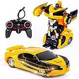 Vubkkty Ferngesteuertes Auto mit Fernbedienung,Transformator Ferngesteuertes Auto Spielzeug für Jungen 2 in 1 rc Auto Kinder Roboter Spielzeug ab 6 7 8 9 10 Jahre Gelb Schwarz