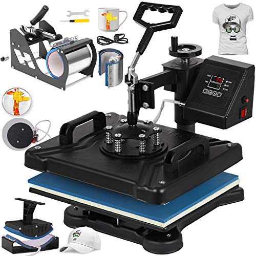 VEVOR Heat Press 12X15 Inch Heat Press Machine 6 in 1 Digital Multifunctional Sublimation Swing Away Heat Press 360 Degree Rotation Heat Press Machine for T Shirts Hat Mug Cap Plate Cap 1 Graphic T-shirt