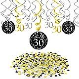 Howaf 30° Compleanno Swirls Decorazioni a Spirale Pendenti (1Confezione da 12) Numero 30 Compleanno Coriandoli di Tavolo(1.05 oz) per 30 Anni Festa di Compleanno Decorazioni per Donna Uomo