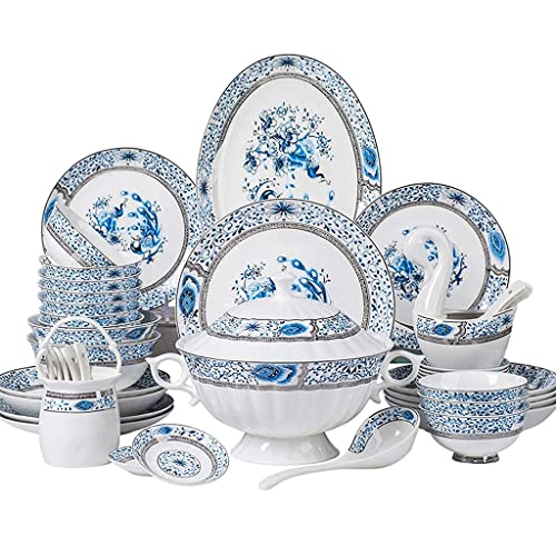 CCAN Vajillas de cerámica, Plato/Cuenco/Plato |Juego de combinación de vajilla de Porcelana con Textura Dorada Pintada a Mano de 48 Piezas - Restaurante de Fiesta Familiar Interesting Life