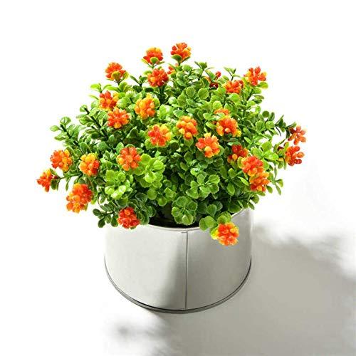 Simple and Creative Artificial Flower Artificial Mulberry Plants + Iron Vase Simulation Fake Flowers Mini Bonsai Set for Wedding Home Garden Decoration, lsxysp, Orange