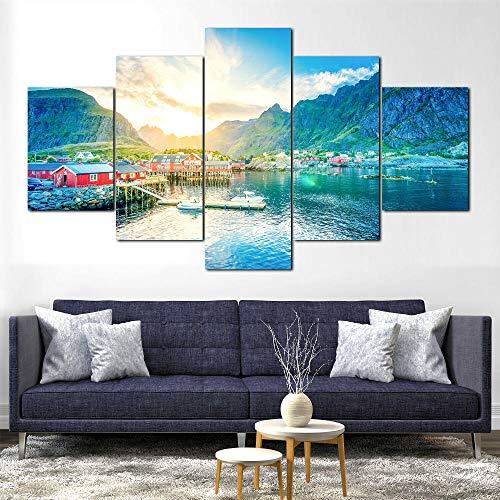 5 Piezas de Lienzo de Arte de Pared Personajes de la película de Lofoten Lake Nature Noruega Cuadros de Lienzo Moderno Giclée para decoración del hogar (tamaño Grande 150 x 80 cm)