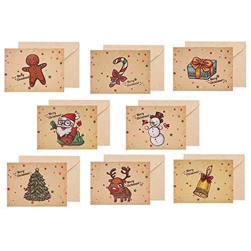 24 tarjetas de felicitación navideñas con sobres y pegatinas, Tarjeta de Felicitación, Papel Kraft Retro Hecho a...