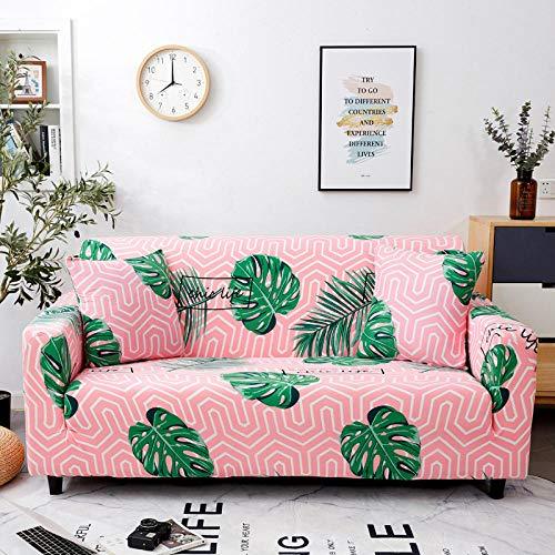 Groene blad bedrukte stretch luie sofa hoes all-inclusive universele antislip lederen doek kunst combinatie sofa hoes handdoek-4_3 zits