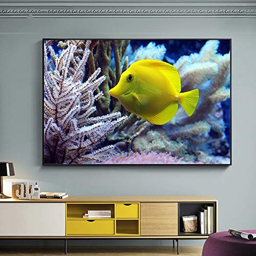 1 Pieces Cute Golden Fish Hd Print On Canvas Paintings For Living Room Underwater World Home Decor Pictures 70x100cm