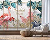 Papier Peint 3D Main, Plante Tropicale, Feuilles, Couple, Flamant Rose Décoration Murale Home Decor Art