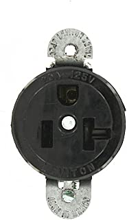 Leviton 5558-SS 20 Amp, 125 Volt, Short Strap Single Receptacle, Straight Blade, Commercial Grade, Grounding, Black