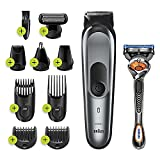 Braun Hair Clippers for Men, MGK7221 10-in-1 Body Grooming Kit, Beard, Ear and Nose Trimmer, Body Groomer and Hair Clipper, Black/Silver