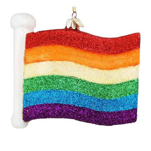 Noble Gems Kurt Adler 4-1/2-Inch Glass Gay Pride Flag Ornament