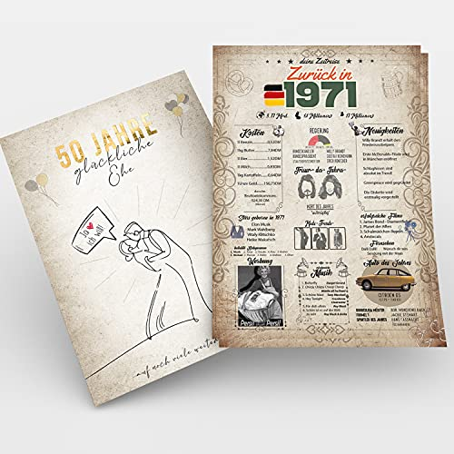 Zeitreise   Geschenk Goldene Hochzeit   Geschenkidee goldene Hochzeit   50 Jahre Ehe   Goldene Hochzeitskarte   Geschenk zur Goldenen Hochzeit   6x A4 Poster