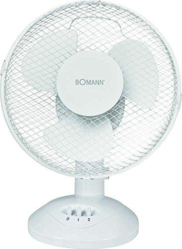 Tischventilator 23 cm Weiß 3 Stufen Ventilator Oszillierend (Windmaschine, 30 Watt, Tragegriff, Höhe 38 cm)