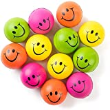 Be Happy! Neon Colored Smile Funny Face Stress Ball - Happy Smile Face Squishies Toys Stress Foam Balls for Soft Play - Bulk Pack of 12 Relaxable 2.5' Stress Relief Smile Squeeze Balls Fun Toys