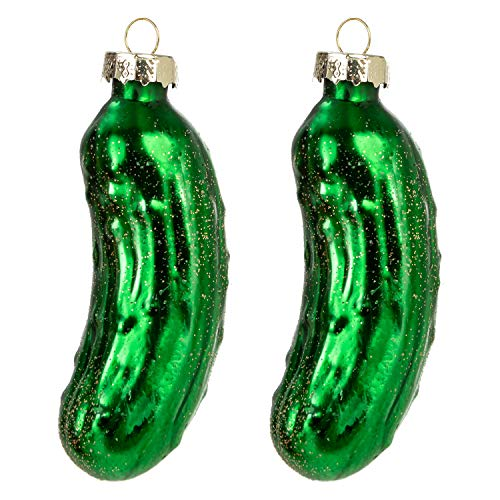 JOYIN Christmas Pickle Ornament Glass Blown Ornament 2-pcs Set Handcrafted Glass Blown Ornaments for Christmas Tree Decoration Christmas Party