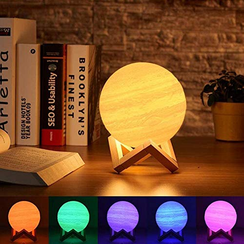 Mopoq 3D Printed Moon Lamp, Jupiter lamp, Touch Control, Stepless Dimmable, Warm White (3000K) and Cool White (6000K), PLA Material, USB Recharge (Dual Color)