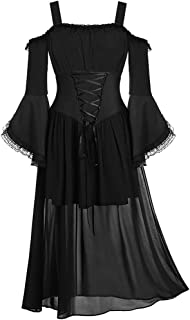 Women Medieval Dress Renaissance Lace Up Vintage Gothic Dress Floor Length Hooded, LIM&Shop Cosplay Dresses Retro