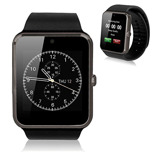 Bluetooth Smart Watch Touchscreen with Camera, EZone GT08 Unlocked Watch Cell Phone with Sim Card Slot, Smart Wrist Watch, Smartwatch for Android Samsung iOS iPhone Smartphones (Black)
