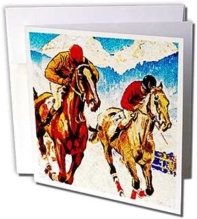 3dRose Set of 12 Greeting Cards, Close Horse Race Artwork (gc_183350_2)