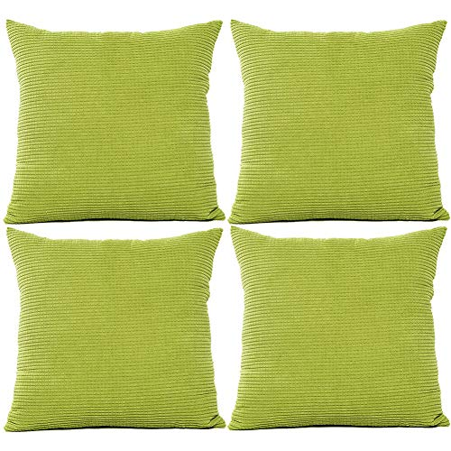 JOTOM Solid Color Corduroy Waist Throw Pillow Case Corn Kernels Soft Cushion Cover for Home Decorative Couch Sofa,45x45cm,Set of 4(Corn Kernels|Green)