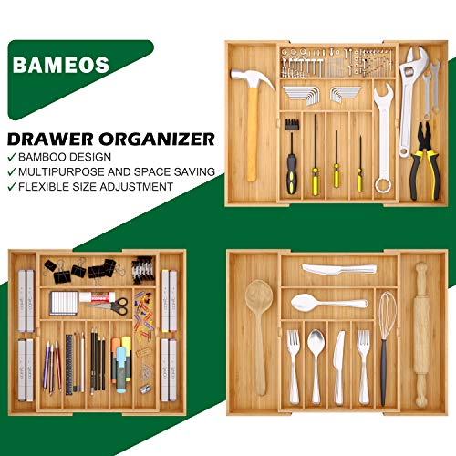 BAMEOS Utensil Drawer Organizer, Cutlery Tray Desk Drawer Organizer Silverware Holder Kitchen Knives Tray Drawer Organizer, 100% Pure Bamboo Expandable Adjustable Cutlery in Natural Color (22 inch)
