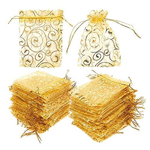 Gwill 100 Bolsas de Organza para Regalos de Boda, Joyas, Bolsas de Regalo, Organizador, con cordón, para Fiestas, Baby Shower, Recuerdos de 10 x 12 cm (Dorado con impresión)