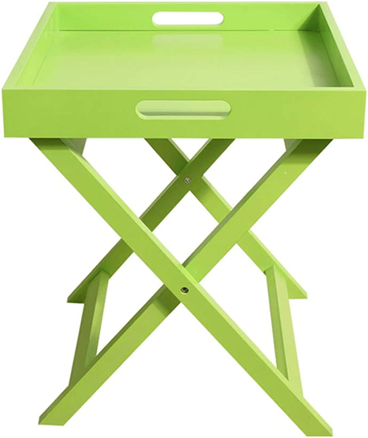 ZH Foldable Table Sofa Side Table Mini Mobile Small Coffee Table Coffee Table Bedside Folding Table, 40x40x46.5cm (color   Green)