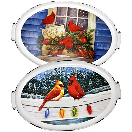 2 Christmas Platter Serving Trays - Holiday Platters Serve ware Cardinal Large Tray 19.5 Inch Oval Decorative Plates For Party Dessert Breakfast Dinner Buffet Sandwich Pastry Cake Kitchen Dining Plate