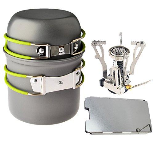 Foxom Outdoor Picknick Kookgerei Koken Gereedschap Set Pot Pan + Piezo Ontsteking Kachel + Aluminium Wind Deflector voor Camping Wandelen Backpacking