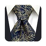 S&W SHLAX&WING Conjuntos de corbata para hombre Corbatas de novio de seda Corbata de tamaño clásico azul floral dorado