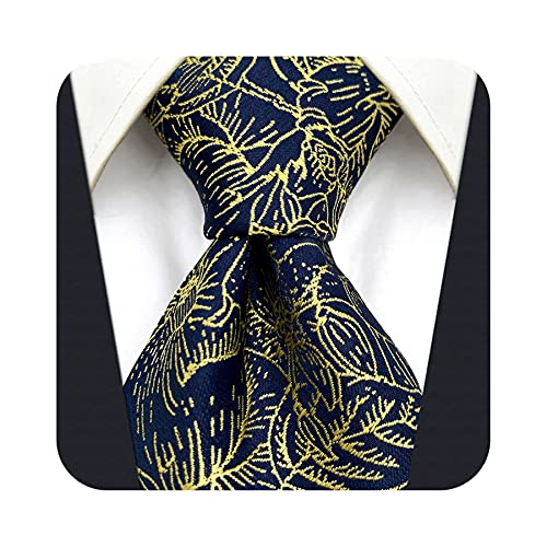 S&W SHLAX&WING Zestaw krawatów dla mężczyzn jedwabny pan młody krawat z chusteczką złoto kwiaty niebieski