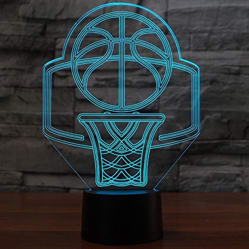 Luz nocturna 3D con 7 cambios de color, diseño de canasta de baloncesto, modelo LED 3D, lámpara de noche, decoración para el hogar, lámpara de noche creativa, regalo para niños