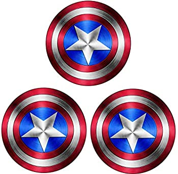 Captain America Shield Vinyl Sticker Decal  Value Pack of 3  for Laptop MacBook I Pad Car Windows Motorcycle Walls Mirror or Any Other Smooth Surface