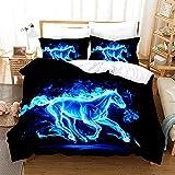 Bedclothes-Blanket Juego de sabanas Infantiles Cama 90,Caso 3D Impresión Digital Animal Ejecutar Caballo Ropa de Cama de Tres Piezas-Seducir_173 * 218
