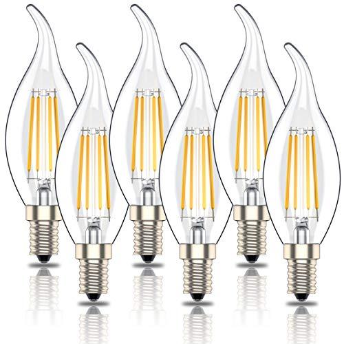 Phoenix-LED E14 Kerze Dimmbar, Glühbirne Retrofit Classic,Glühlampe E14 4W Ersetzt 40Watt, LED Lampe, Warmweiß(2700K),400lm,6er-Pack