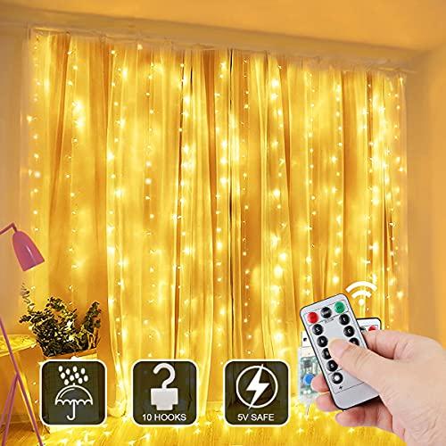 Sooair Lichtervorhang 3M * 2M, 300 LEDs Lichterketten Vorhang USB 8 Modi Wasserfall Lichterkette mit Fernbedienung, Wasserfest Wand Lichter Vorhänge Innen für Party, Schlafzimmer Dekoration