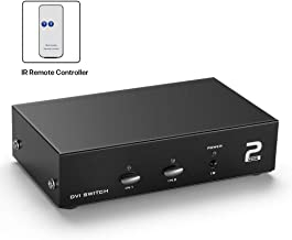 TNP DVI Switch Box Dual Monitor Computer Switcher 2 in 1 Out HD Resolution 1920 x 1440 with Remote Control DVI Selector for TV Laptop PC DVR Display & Other DVI Port Devices