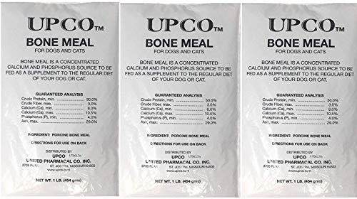 Bone Meal Powder for Dogs and Cats 3 Pack Total 3 Pounds from Upco Made in USA